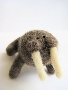 Felt Walrus - Needle Felt Animal Sculpture. $53.00, via Etsy.
