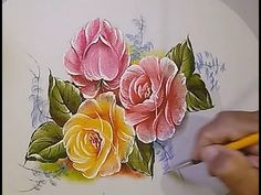 One Stroke Painting, Tole Painting, Fabric Painting, Watercolour Painting, Painting & Drawing, Acrylic Painting Techniques, Drawing Techniques, Art Tips, Folk Art