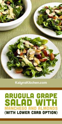 I'd love this Arugula Grape Salad with Manchego and Almonds for a special meal; make it with or without the pureed grape dressing. And this tasty salad has a lots of options to reduce the carbs or make it easier. [found on KalynsKitchen.com] #ArugulaGrapeSalad #HolidayArugulaSalad #ArugulaSalad