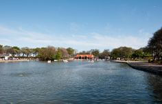 Boating lake at South Marine Park, South Shields.