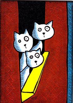 '3 cats and a window' e9Art ACEO Original Mini Folk Cartoon Art One-of-a-Kind #Miniature