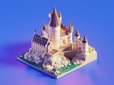 Hogwarts Castle Daylight designed by Roman Klčo. Connect with them on Dribbble; Modelos Low Poly, Modelos 3d, Castle Cartoon, Madara Susanoo, Concept Art Tutorial, Model House Plan, House Plans, Pix Art, 3d Icons