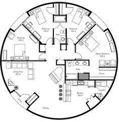 "Image: Callisto I — ""A President's Choice""Plan Number: DL5001 (DPC 452 or DPC 4052) Name: Callisto I Floor Area: 1,964 square feet Diameter: 50'"