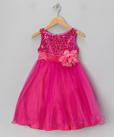 Take a look at this Fuchsia Sequin Tulle A-Line Dress - Toddler & Girls on zulily today!