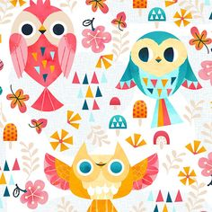 Kawaii Owl Pattern on Behance Kat Uno