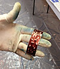 A beautiful red patina on this copper bracelet in the class at Arlington Bead Fest!
