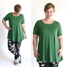 This free tunic sewing pattern is a lot like the LulaRoe perfect tee, so you'll be able to sew your own long shirts to wear with leggings.
