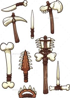 Prehistoric bone weapons. Vector clip art illustration with simple gradients. Each on a separate layer. EPS10 file included.