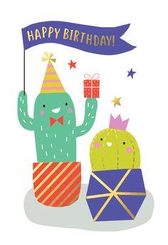 2 happy cactus - Happy Birthday Card  #greetingcards #printable #diy #birthday
