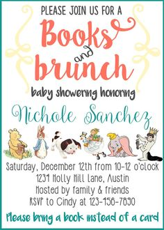 Story book Baby Shower Invitation Bring a by maoPartyPrintables