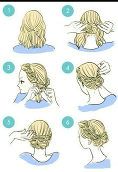 cool Short hair bun braid on We Heart It...