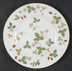 """Created in 1964 it remains one of our bestselling patterns of all time.""  Wedgwood Wild Strawberry (Bone) Salad/Dessert Plate. Replacements.com has 3 price ranges ($29.99, $22.49 & $15.00) vs. $35.20 new."