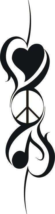 Love Peace And Music Tattoos