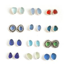 Selection of sea glass stud earrings by Tania Covo