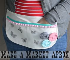 DIY: Make a Market Apron Tutorial...No Sew (awesome) with free butterfly printable, this is great!