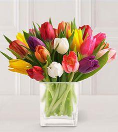 Cheerful tulip centerpiece.