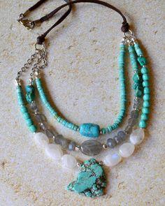 Southwestern Three Strand Turquoise Moonstone by RueRueOriginals, $79.00