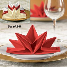 folding napkins | FreshFinds.com: Entertaining | Decorative | Set/ 24 Star Fold Napkins
