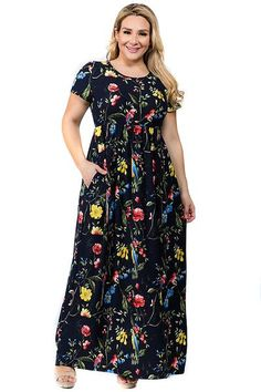 97ed55ade94 Plus Size Short Sleeve Floral Bird Print Maxi Dress with Pockets