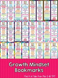 Promote Growth Mindset in your classroom with these bright and colourful bookmarks. There are 16 different motivational quotes and 48 bookmarks in total (12 unique designs). Simply print the design/s you want and laminate.Related ProductsGrowth Mindset PostersGrowth Mindset CardsGrowth Mindset BoardGrowth Mindset Posters FreebieIf you have any questions please email me at talesfrommissd@gmail.com.