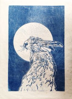 La Lune by Sarah Cemmick - Mr hare keeps a watchful eye while the full moon lights the way