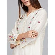 Off White Embroidered Chanderi Silk Kurta with Cotton Silk Palazzo - Set of 2 Kurti Neck Designs, Kurta Designs Women, Dress Neck Designs, Sleeve Designs, Blouse Designs, Embroidery On Kurtis, Kurti Embroidery Design, Embroidery Dress, Machine Embroidery