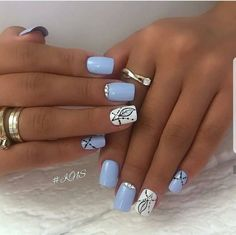 We have found 40 of the very best nail art designs for you! All of these nail art designs feature unique designs and beautiful displays of art. Being able to provide art on your very own nails speaks volumes on how you keep up with your own appearance. Elegant Nail Designs, Best Nail Art Designs, Acrylic Nail Designs, Light Blue Nail Designs, Cute Acrylic Nails, Cute Nail Art, Blue Nails, My Nails, Luxury Nails