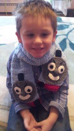 Kids Crocheted Blue Train Engine Warm and Cozy Scarf, Neck Warmer via Etsy