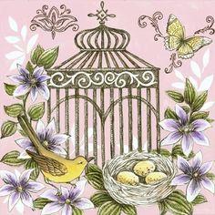 Medium bird birdcage nest flowers and butterfly