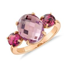 Indulge in color with this three-stone ring featuring a oval shape amethyst and two round pink tourmaline gemstones set in rose gold. Blue Nile Jewelry, Rose Gold Jewelry, Resin Jewelry, Jewelry Rings, Jewellery, Geode Jewelry, Bridal Jewelry, Pink Tourmaline Ring, Tourmaline Jewelry