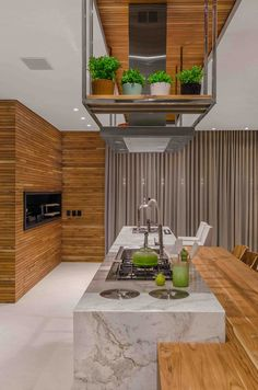 Image 7 of 40 from gallery of A+C House / Studio Colnaghi Arquitetura. Photograph by Vanessa Bohn - Denise Wichmann Home Decor Kitchen, Kitchen Living, Kitchen Interior, Home Kitchens, Parrilla Interior, Küchen Design, House Design, Cafe Interior Design, Studio Furniture