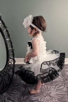 White Tutu Trimmed With Beautiful Black Lace by by FabTutus on etsy.