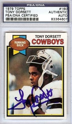 Tony Dorsett Autographed/Hand Signed 1979 Topps Card PSA/DNA #83364607 by Hall of Fame Memorabilia. $66.95. This is a 1979 Topps Card that has been hand signed by Tony Dorsett. It has been authenticated by PSA/DNA and comes encapsulated in their tamper-proof holder.