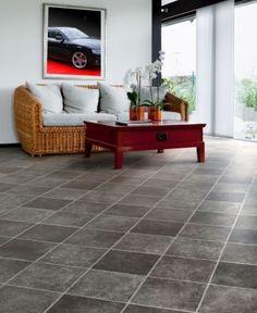 Gut Details Zu PVC Bodenbelag Fliesen Dunkel Diagonal 400 Cm Breite Pro Qm U003d  9,95 U20ac