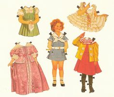 Shirley Temple paper dolls postcard, 1930s
