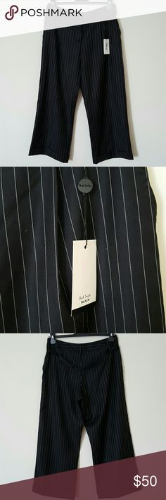 "Paul Smith pinstripe wool trouser size 8 NWT Black with white pinstripe, super wide leg wool pant size 8 or UK 44. Never worn, tailor shortened them way too short now they fit like a Capri, inseem is now 26 1/2"". Paul Smith Pants"