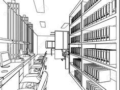 Skizze, Zeichnung Perspektive Eines Zwischenraumbüro Umreißen Lizenzfreie Fotos, Bilder Und Stock Fotografie. Image 43268249.