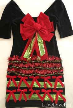 How to make an ugly Christmas sweater dress (using a plain black dress, ribbon, and hotglue)! LOVE this idea!!