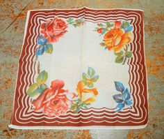 Vintage Handkerchief Floral Brown Ladies  Vintage by TheBackShak