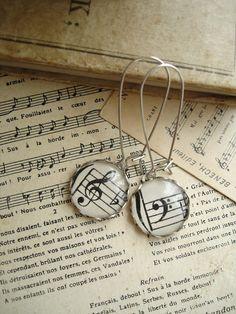 HARMONY  Music Earrings Vintage Sheet Music by PreciousPastimes