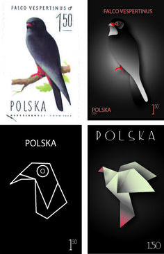 postage stamps - birds. 1. original 2. realism 3. flat design 4. inspired by origami