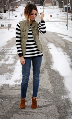 What I Wore: Navy Stripes and an Army Vest Vest Outfits, Fall Outfits, Casual Outfits, Cute Outfits, Army Vest, Nautical Outfits, Autumn Winter Fashion, Winter Style, Fall Fashion