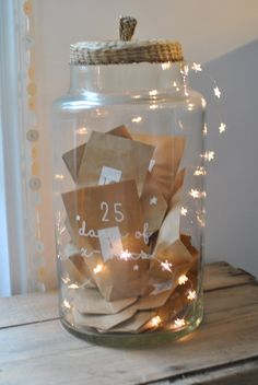 on each day of december leading up to chirstmas write down something your grateful for and put them in a jar.