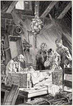 Frankenstein illustration by Bernie Wrightson. This is one of my favorites. I love the little imps on the lamp. Countdown to Halloween! Comic Book Artists, Comic Artist, Comic Books Art, Gravure Illustration, Book Illustration, Horror Comics, Horror Art, Bernie Wrightson, John Tenniel