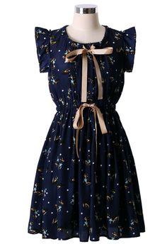 Deer Print Bowknot Dress in Navy