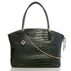 IMAN Platinum Croco-Embossed Luxe Leather Jewelry Satchel at HSN.com. #HSN #FallFashion