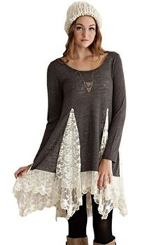 Entro Women's Long Knit Bohemian Tunic with Lace Panels at Amazon Women's Clothing store: