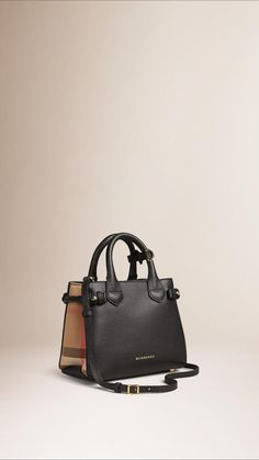 Burberry The Baby Banner In Leather And House Check - $1,150.00