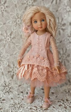 Dress for doll Little Darling by Dianna Effner Girl Dolls, Baby Dolls, Couture, Accessoires Barbie, Rose Clothing, Girls Winter Coats, Special Dresses, Little Darlings, Handmade Clothes