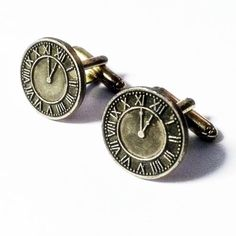 Mens-Bronze-Clock-Cufflinks-Roman-Numeral-Timepiece-Cuff-Links-Guys-Gift